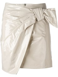 Isabel Marant 'Anders' Knot Mini Skirt Nude Neutrals