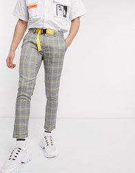 Sixth June Check Skinny Trousers With Buckle In Grey