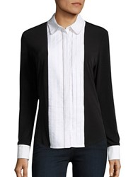 Karl Lagerfeld Tuxedo Pleated Long Sleeve Blouse Black White