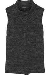 Thakoon Split Front Merino Wool Sweater Charcoal