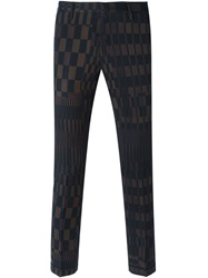 Paul Smith Black Label Check And Stripes Skinny Trousers Brown