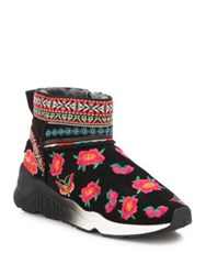 Ash Muji Embroidered Suede And Fur Wedge Booties Black Multi