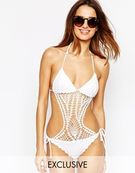 South Beach Nadine Hand Crochet Swimsuit White