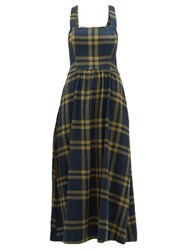 Ace And Jig Willa Crossed Back Checked Cotton Dress Navy Multi