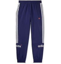 Adidas Originals Arc Tapered Logo Embroidered Striped Shell Track Pants Blue