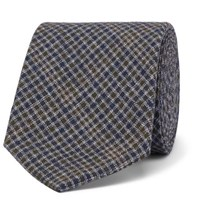 Oliver Spencer 8Cm Checked Cotton Tie Green