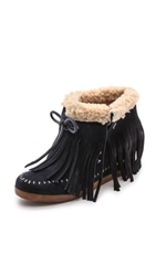 Koolaburra Fringe Moccasin Wedge Booties Stelle Blue