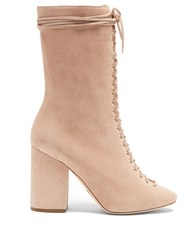Brother Vellies Lali Lace Up Suede Boots Nude