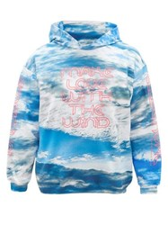 Christopher Kane Make Love With The Wind Cotton Hooded Sweatshirt Blue