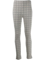 Patrizia Pepe Skinny Fit Checked Trousers Black