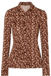 Dodo Bar Or Paya Ruched Floral Print Stretch Jersey Shirt Brown