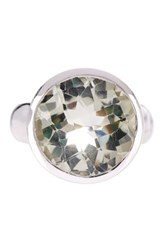 Olivia Leone Sterling Silver Round Green Genuine Amethyst Ring
