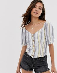 Abercrombie And Fitch Button Through Stripe Linen Shirt Blue