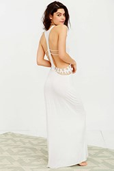 Staring At Stars Crochet Cutout Maxi Slip Cream