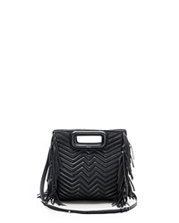Maje Fringe Convertible Quilted Leather Crossbody Black Gold
