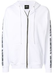 Les Artists Art Ists Zipped Printed Hoodie White
