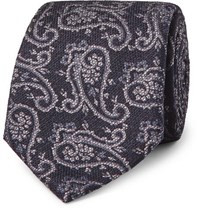 Etro 8Cm Paisley Woven Silk And Wool Blend Tie Navy