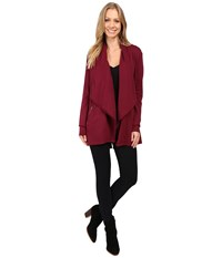 Mod O Doc Cotton Spandex French Terry Cardigan Chianti Women's Sweater Red