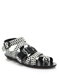 Loeffler Randall Sedona Textured Pattern Leather Sandals Cream Black