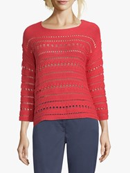 Betty Barclay Crochet Knit Jumper Hibiscus Red