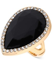 T Tahari Gold Tone Jet Resin Crystal Stretch Ring