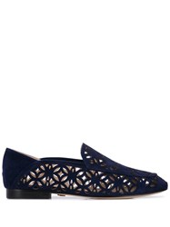 Lola Cruz Embroidered Loafers Blue