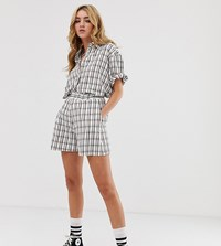 Milk It Vintage Boxy Shorts In Check Co White