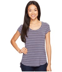 Columbia All Who Wander Short Sleeve Top Sparrow Heathered Stripe Women's Short Sleeve Pullover Blue