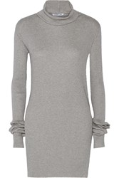 Helmut Lang Ribbed Cotton And Angora Blend Turtleneck Sweater Gray