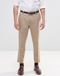 Asos Slim Smart Cropped Trousers In Camel Camel Brown