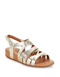 Fitflop Lumy Leather Wedge Sandals Pale Gold