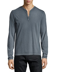 John Varvatos Long Sleeve Snap Button Henley Shirt Gray