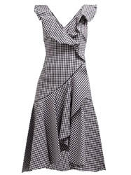 Jonathan Simkhai Ruffled Gingham Cotton Blend Dress Black White