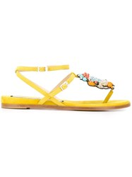 Nao21 Beaded Flat Sandals Yellow And Orange