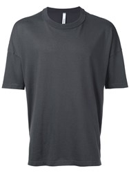 Attachment Round Neck T Shirt Men Cotton 3 Grey