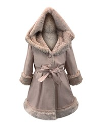 Helena Hooded Faux Fur Lined Reversible Coat Pink