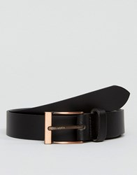 Peter Werth Leather Belt In Black With Rose Buckle