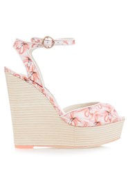 Sophia Webster Lula Dreamy Flamingo Wedge Sandals Pink Multi