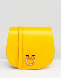 Leather Satchel Company Saddle Bag With Bull Ring Closure Double Yellow Green
