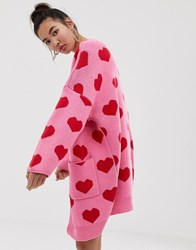 Lazy Oaf Extreme Oversized Cardigan With Hearts Pink Red