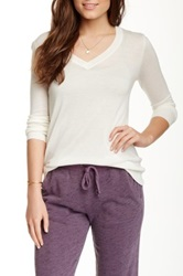 Splendid V Neck Pullover White