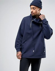 Asos Oversized Sweatshirt With Funnel Zip Neck In Navy Navy