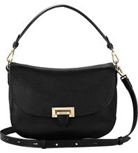 Aspinal Of London Letterbox Slouchy Leather Saddle Bag Black