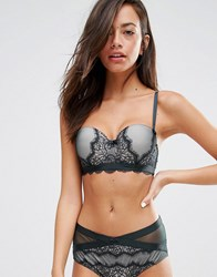 New Look Velvet Eyelash Lace Balconette Bra Dark Green