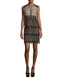 Nanette Lepore Sleeveless Leopard And Lace Sheath Dress