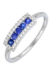 Bony Levy 18K White Gold Channel Set Sapphire And Pave Diamond Halo Stacking Ring Size 6.5