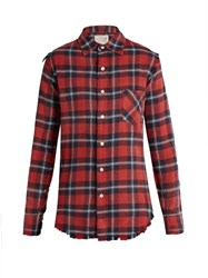 R 13 Long Sleeved Tartan Cotton Shirt Red Multi