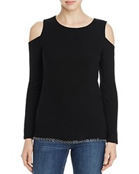 Red Haute Ottoman Ribbed Cold Shoulder Sweater Black