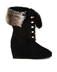Love From Australia Wedge Nova Boots With Faux Fur Black