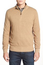 Brooks Brothers Cotton And Cashmere Pique Half Zip Sweater Beige